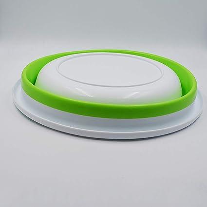 Ogquaton Taz/ón Plegable Forma Redonda Lavado Taz/ón Pl/ástico Duradero Taz/ón de Uso M/últiple Suministros de Cocina para Uso en el Hogar al Aire Libre 1 UNIDS Verde