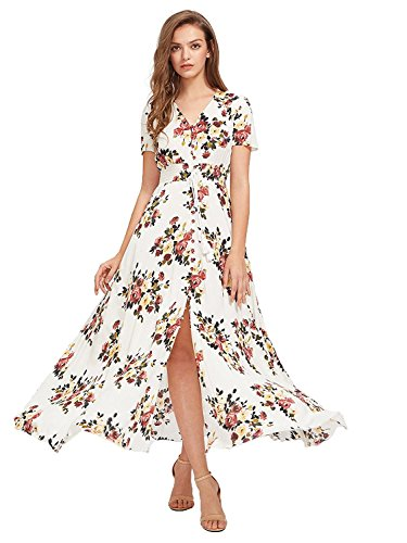 Milumia Women Floral Print Button Up Split Flowy Party Maxi Dress (Medium, Multicolor-White-3) ()