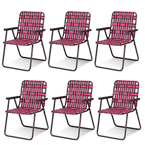 Giantex 6 PCS Folding Beach Chair Portable Camping Steel Frame Lightweight Support 265 Lbs Lawn Webbing Chair (Red)