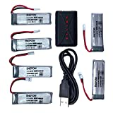 Alonea 3.7V 500mAh Li-Polymer Battery +A Six Charger For JJRC H37 RC Quadcopter (As Picture)
