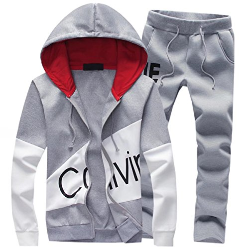 DigerLa Men's Fashion Printed Hoodie Jacket and Pants Tracksuit Set