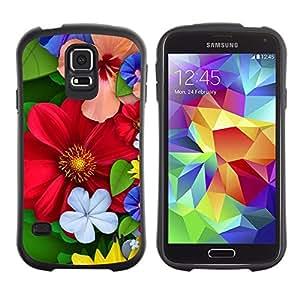 """Pulsar iFace Series Tpu silicona Carcasa Funda Case para Samsung Galaxy S5 , Floral de primavera coloridas Flores rojas del flor"""""""
