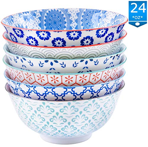 Gulee 24 Ounce Premium Porcelain Bowls Set - Great for Cereal, Soup, Salad, Rice or Pasta - 6 Vibrant Designs - Large Capacity - Heat and Cold Resistant Ceramic - Dishwasher and Microwave Safe ()