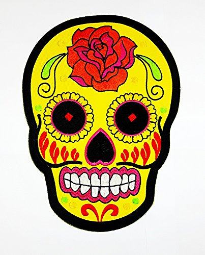 Angel Of Death Costume Diy (XXL BIG Flower Sugar Skull Ghost Day of Death Love Never Die Rock Back Motorcycles patch biker club Patch Biker jacket vest large Embroidered Iron on Hat Hoodie Backpack Ideal for Birthday Gift)