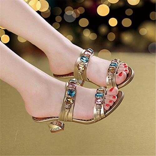 Mediados Chanclas Golden Cómodo Diamante Artificial Mujer Verano UK Talón SCLOTHS EU 6 con 5 3 Gruesas US 36 vXnq0dHxt