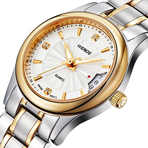 Weide Watches Men's fashion casual sports silver and gold steel watch with calendar