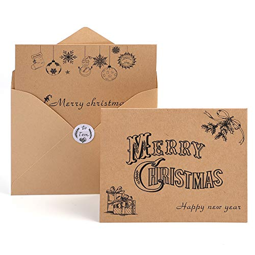 Kuuqa 36 Pieces Merry Christmas Cards Greeting Notes Cards with 36 Envelopes and 36 Stickers -