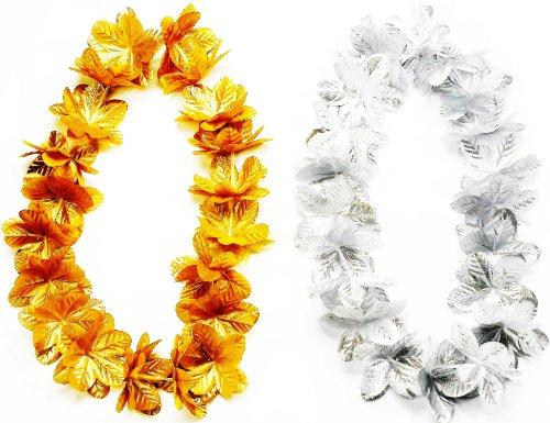 Metallic Hula Skirt (Forum Novelties Silver Metallic Fancy Hawaiian Silk Flower Lei)