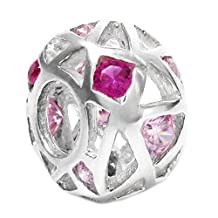 .925 Sterling Silver Pink CZ Flower October Birthstone Bead For European Chamilia Biagi Troll Pandora Charm Bracelets