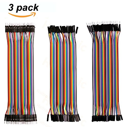 Haitronic 120pcs 20cm length Jumper Wires/dupont cable Multicolored(10 color) 40pin M to F, 40pin M to M, 40pin F to F for Breadboard/Arduino based/DIY/raspberry Pi 2 3/Robot Ribbon Cables Ki