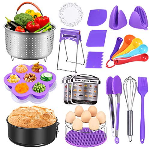 DINOKA 23 Pcs Pressure Cooker Accessories Set Compatible with Instant Pot 5,6,8 QT- Steamer Basket,non-stick Springform Pan,Silicone Egg Bites Mold,Kitchen Tongs,Bowl Clip, Silicon Mitts (Purple)