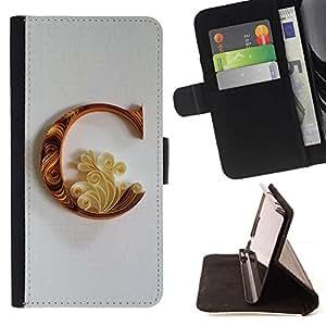 Momo Phone Case / Flip Funda de Cuero Case Cover - C Caligrafía Pétalo floral del alfabeto - LG G4 Stylus H540