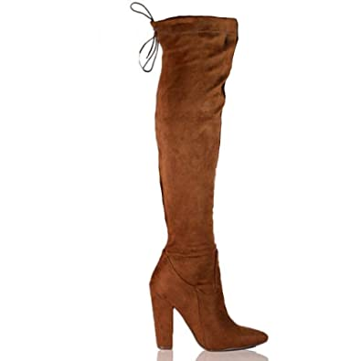 8688cf14a502 New Womens Over The Knee Thigh Boots High Block Heel Back Tie Up High Boots  (