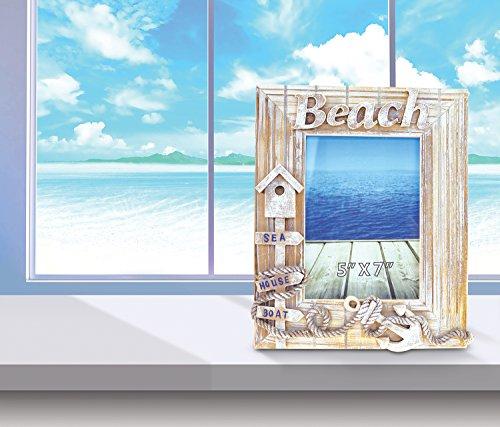 "Elegant Nautical Decor: Puzzled Baja Beach Photo Frame 5""x7"" Handcrafted Wooden"