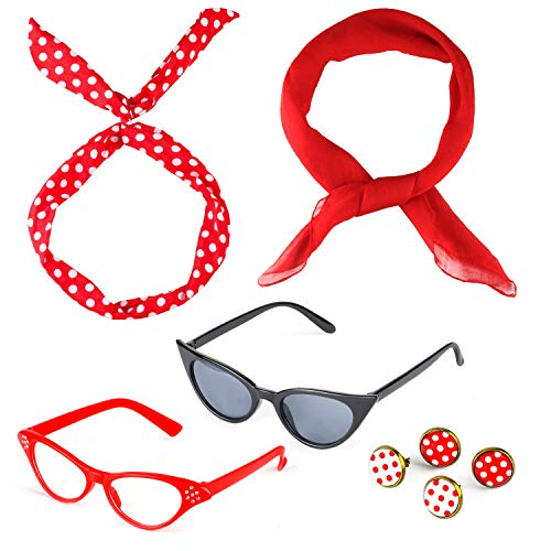 Beelittle 50's Costume Accessories Set 1950's Chiffon Scarf Cat Eye Glasses Bandana Tie Headband Drop Dot Earrings -