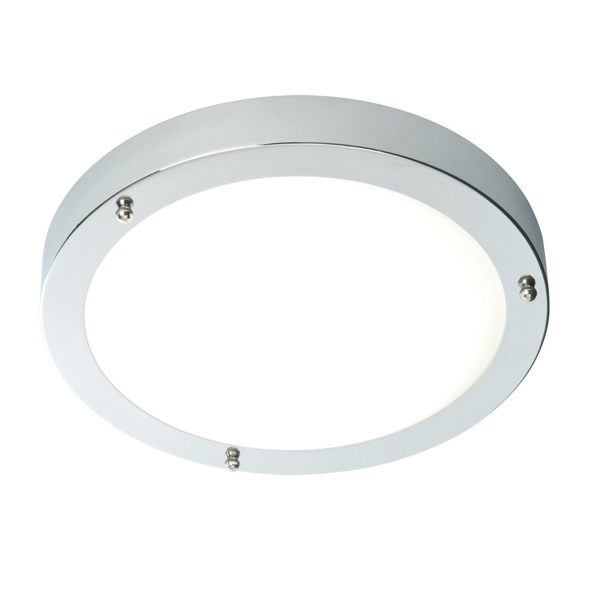 Modern IP44 Rated Flush Round Chrome Plated 300mm Disc LED Bathroom Ceiling Light Fitting with Frosted Glass Shade Zone 2 [Energy Class A+] National Lighting