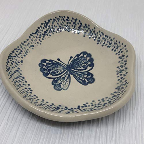 (JANECKA Blue Butterfly 6 inch Bowl, Candy Dish, Soap Tray, Pottery 9th Anniversary Gift)