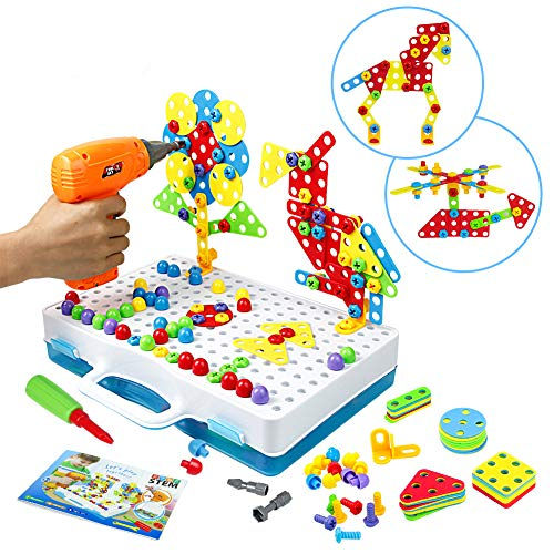 Drill Construction Toys – 3D Puzzle Screw Stem Toy with Electronic Drill DIY Building Block Kids Early Learning Creative…