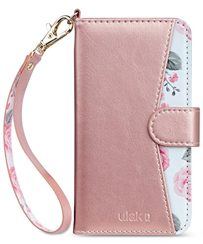 iPhone 8 Case, iPhone 7 Case, ULAK Premium PU Leather iPhone 8 Wallet Case with Kickstand Card Holder ID Slot and Hand Strap Shockproof Protective Cover for Apple iPhone 7/8 4.7 Inch, Rose Gold Floral (Best Leather Iphone 7 Case)
