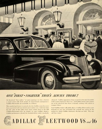 1938 Ad Cadillac Fleetwood V8 V16 Automobile Luxury - Original Print Ad by PeriodPaper LLC-Collectible Original...