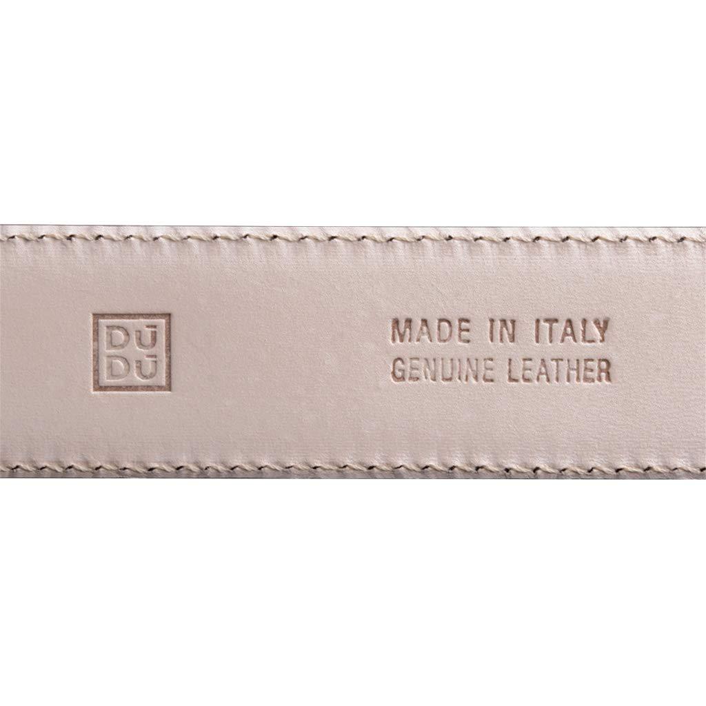 DuDu Ceinture Homme en Cuir V/éritable Dessus et Dessous Made in Italy R/églable de 33 mm avec Boucle Argent satin/é de 115 cm Brun fonc/é