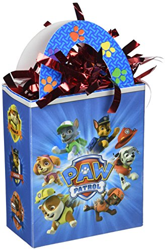 Amscan Amazing Paw Patrol Birthday Party Mini Balloon Weight Tote (1 Piece), Blue/Red, 5.7 oz