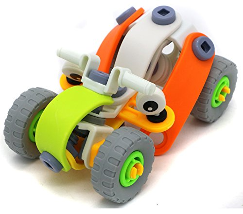 Verzabo Build and Play Toy set Package with 62 Different Parts Assembled By Toy Wrench and Screwdriver into a Dune buggy