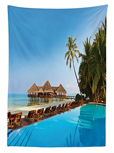 Seaside Decor Tablecloth Pool on Tropical Maldives Island With Bungalows Chairs Palm Trees Poolside Picture Dining Room Kitchen Rectangular Table Cover