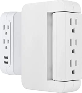 GE Pro Side-Access Swivel Surge Protector, 5-Outlet Wall Tap with 2 USB Ports, 3 Prong, Charging Station, 560 Joules, White, 2 Pack, 55246