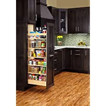 "Rev-A-Shelf 448-TP43-5-1-5"" W X 43"" H Pull-Out Wood Tall Cabinet Pantry, Natural"