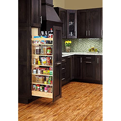 Rev A Shelf   448 TP58 14 1   14 In. W X 58 In. H Pull Out Wood Tall Cabinet  Pantry
