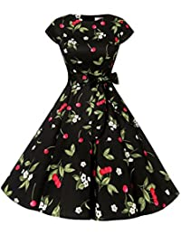 Women Vintage 1950s Retro Rockabilly Prom Dresses Cap Sleeve