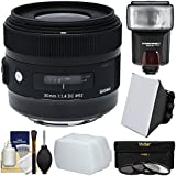 Sigma 30mm f/1.4 Art DC HSM Lens 3 UV/CPL/ND8 Filters + Flash + Diffuser + Soft Box + Kit Canon EOS Digital SLR Cameras