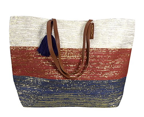 Peach Couture Gold Weave Large Travel Tote Hobo Handbags Shoulder Bags (Red White - Sequin Purse Hobo