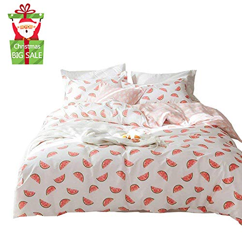 Price comparison product image XUKEJU 100% Cotton Bedding Fruit Soft Children Duvet Cover Set Print Watermelon Pattern Boys Girls Bedding Set 3 Pieces with 2 Pillow Cases Best Bedding Decoration Gif for Kids/Adult Twin