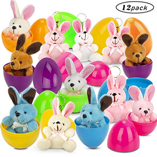 GIGALUMI 12 Pcs Filled Easter Eggs set with 3.94 Assorted Pastel Colorful Plush Bunnies for Easter Basket Stuffers and Easter Egg Hunt Party Favor for Kids!