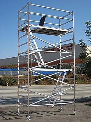"14 Feet Deck High Industrial Heavy Duty 2""Aluminum Utility Scaffolding Rolling Tower"