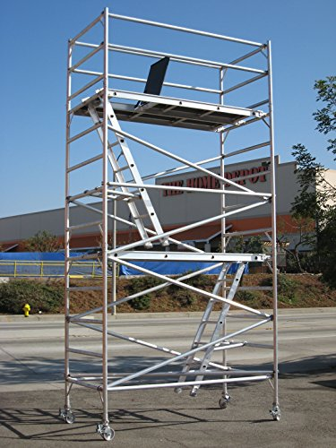 14 Feet Deck High Industrial Heavy Duty 2''Aluminum Utility Scaffolding Rolling Tower by CBMScaffold Rolling Tower