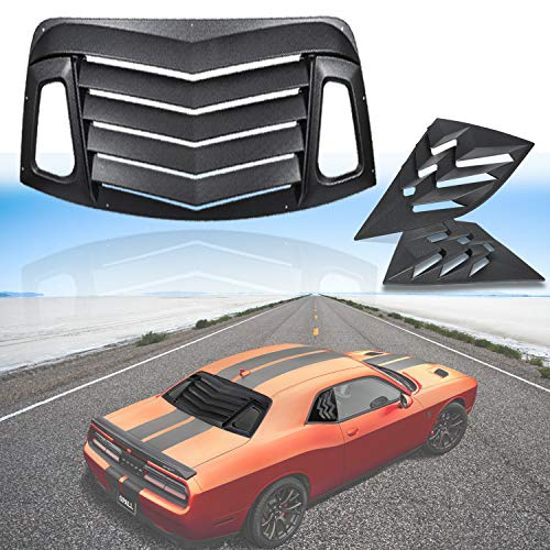 - Opall for Dodge Challenger 2008-2019 ABS Rear Window Louvers & Quarter Side Window Scoop Louvers in Matte Black
