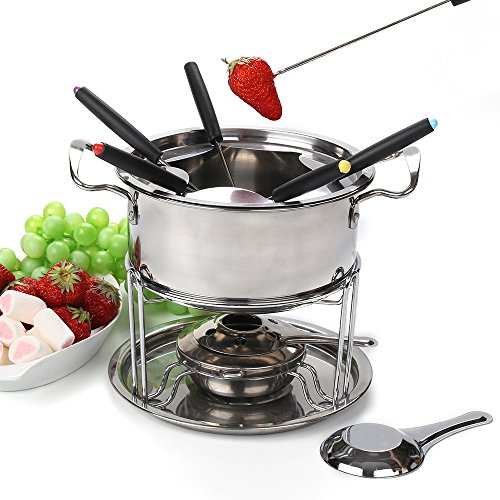 Fondue pot set Fondue Maker Stainless steel of 6 forks/ DIY chocolate fondue set silver / Meat Cheese Fondue Sets (Steel Set Fondue)