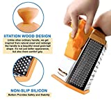 Stainless Steel Sharp Grater for Cheese, Vegetables, Parmesan, Potato, Carrot Dicer, 6 side Box, Wood looking Handle