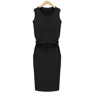 02da34bcbaf Lovely-Shop dresses Cotton Linen Dress Fashion Women Sleeveless Slim with  Belt O-Neck