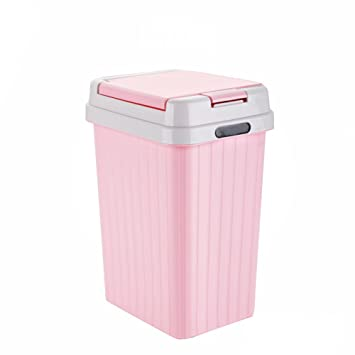 Hflove Plastic Round Trash Can Bedroom Push Button Garbage Can,2.6 Gallon  (Pink