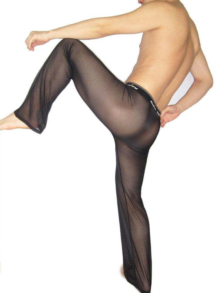 PinWei_ Men's slim transparent transparent Yoga Pants, L red