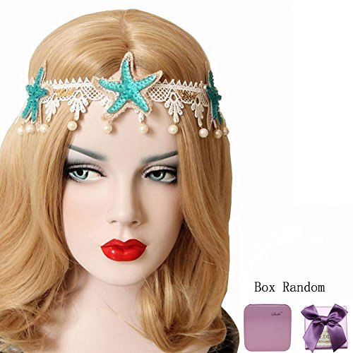 Bodermincer Summer Beach Style Bohemia Wedding Flower Head Wreath for Woman Party Mermaid Sea Star Starfish Decorations Charm Hairbands Mermaid Hair Accessories Mermaid Costume (Color 2)