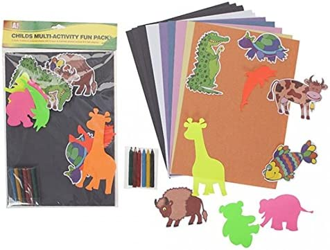 Kids Crayon Drawing Art Set by Lizzy/® Childrens Animals Multi-Activity Fun Pack