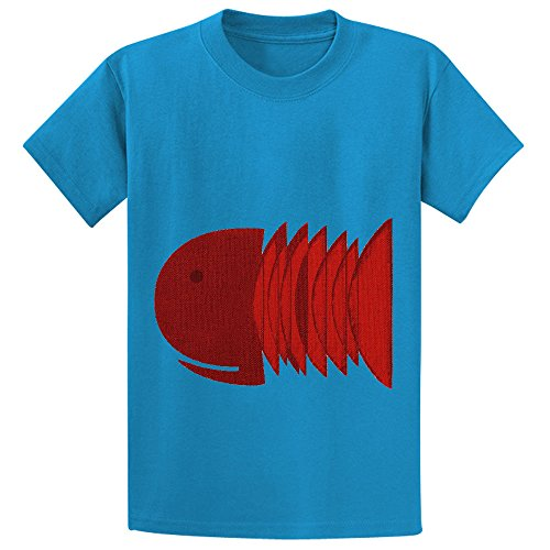 Mcol Red Fish Kid's Crew Neck Graphic T-shirt Blue (Cute 11 Year Old Guys)