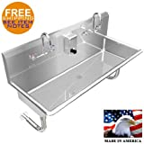 MULTIUSERS 2 PERSON HAND SINK BASIN 40'' MANUAL FAUCET STAINLESS STEEL WALL MOUNT