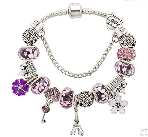 QUEEN JULIA | Charm Bracelet European Bracelet With Heart, Love, Lock and Key, Butterfly, Bear, Life Tree For Women Girls for Valentines Birthday Anniversary (Style Heart Charm)