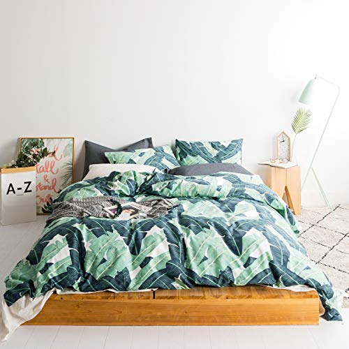 SUSYBAO 3 Pieces Duvet Cover Set 100% Natural Cotton Queen Size Green Tropical Botanical Print Bedding Set with Zipper Ties 1 Duvet Cover 2 Pillowcases Hotel Quality Soft Comfortable Easy Care Durable (Tropical Queen Sets Bedding)